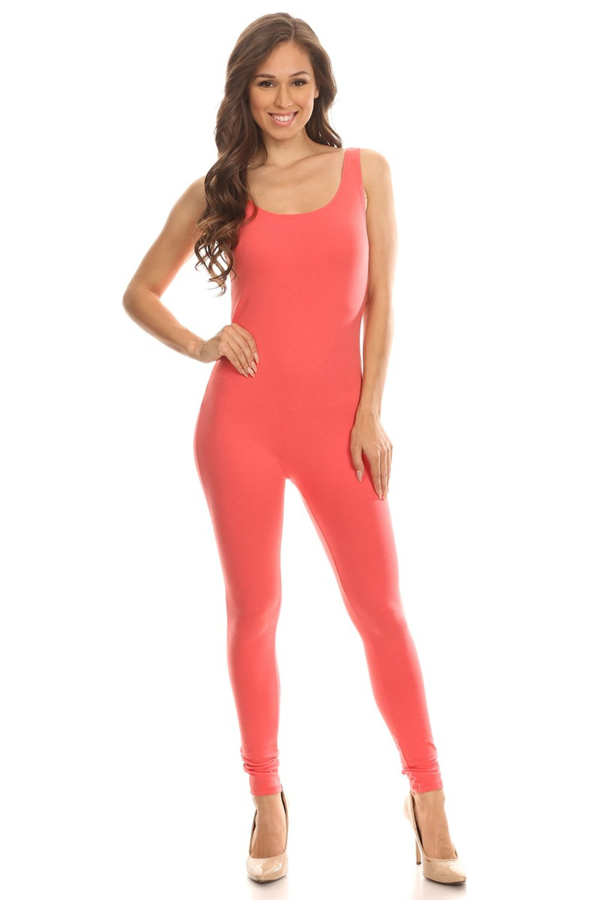 Front side image of Coral USA Cotton Basic Tank Plus Size Jumpsuit