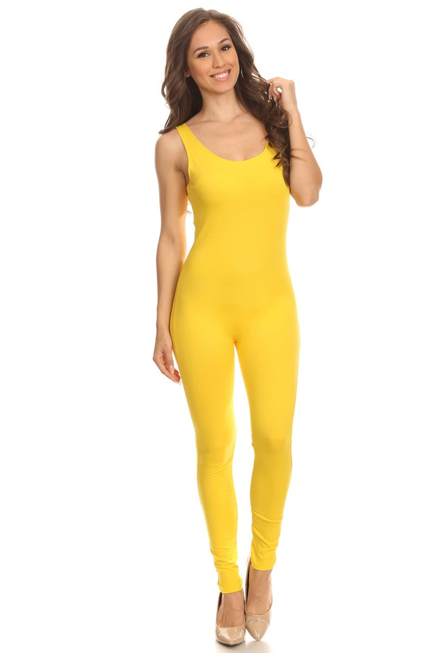 Front side image of Yellow USA Cotton Basic Tank Plus Size Jumpsuit