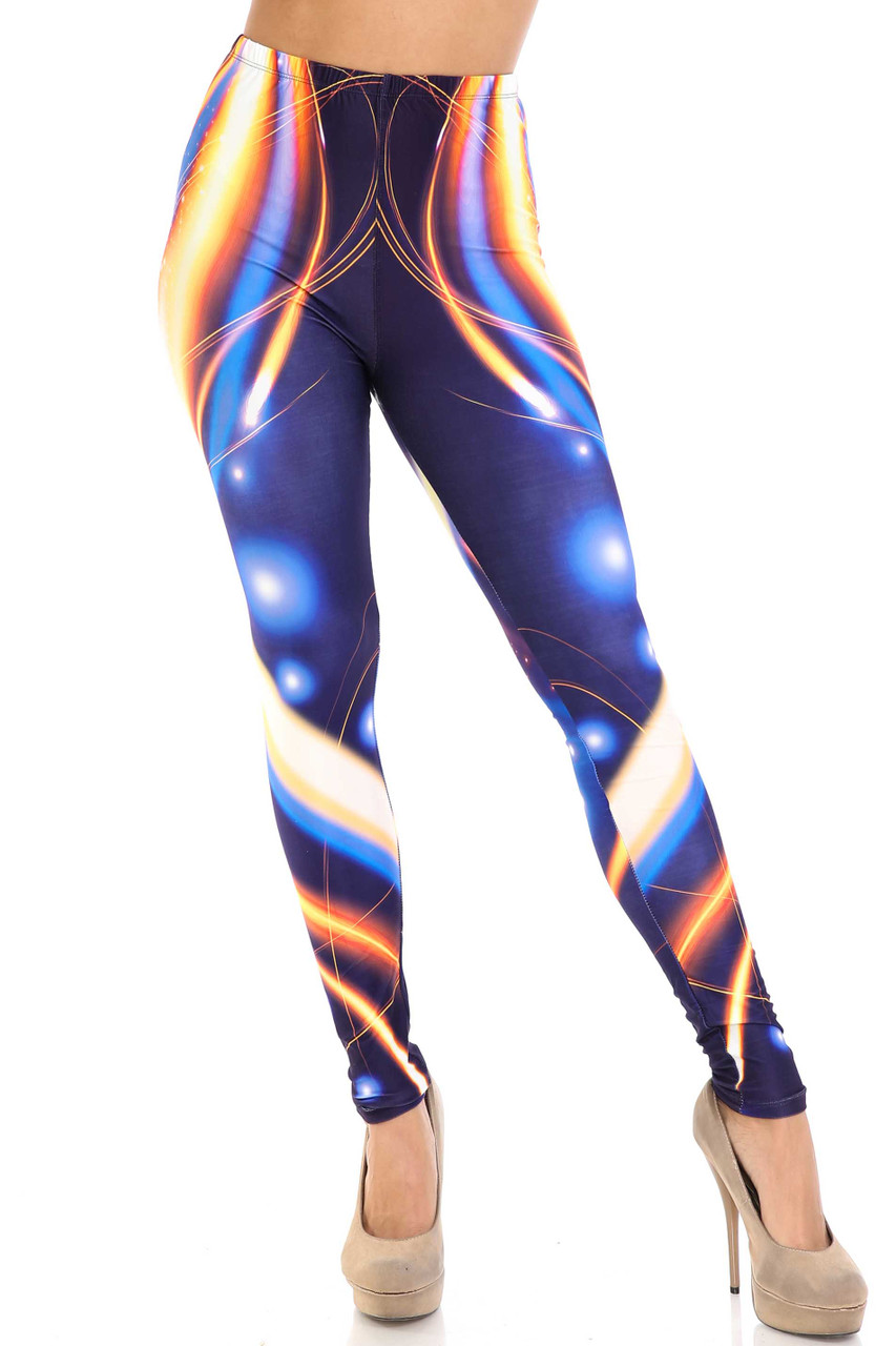 Front view of Creamy Soft Psychedelic Contour Leggings - By USA Fashion™ with a full length skinny leg hem.