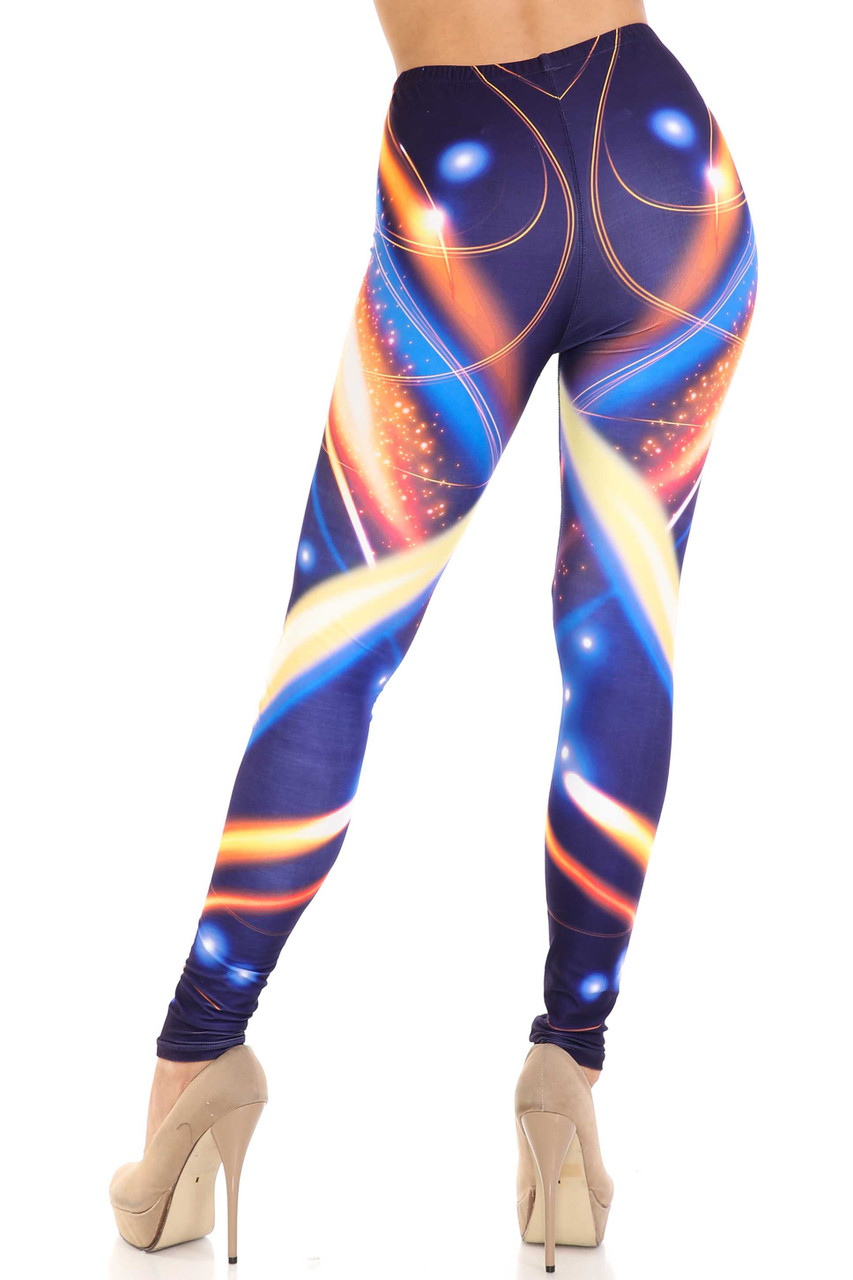 Rear view image of Creamy Soft Psychedelic Contour Plus Size Leggings  - By USA Fashion™ showing off a sassy contouring design that complements the body-hugging fit.