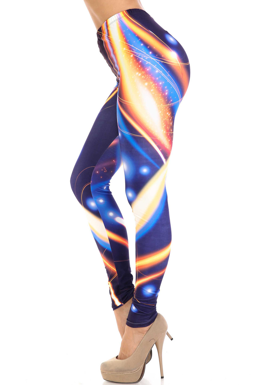 Left side image of Creamy Soft Psychedelic Contour Plus Size Leggings - By USA Fashion™