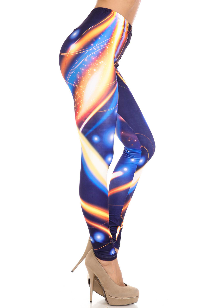 Right side image of Creamy Soft Psychedelic Contour Extra Plus Size Leggings - 3X-5X - By USA Fashion™