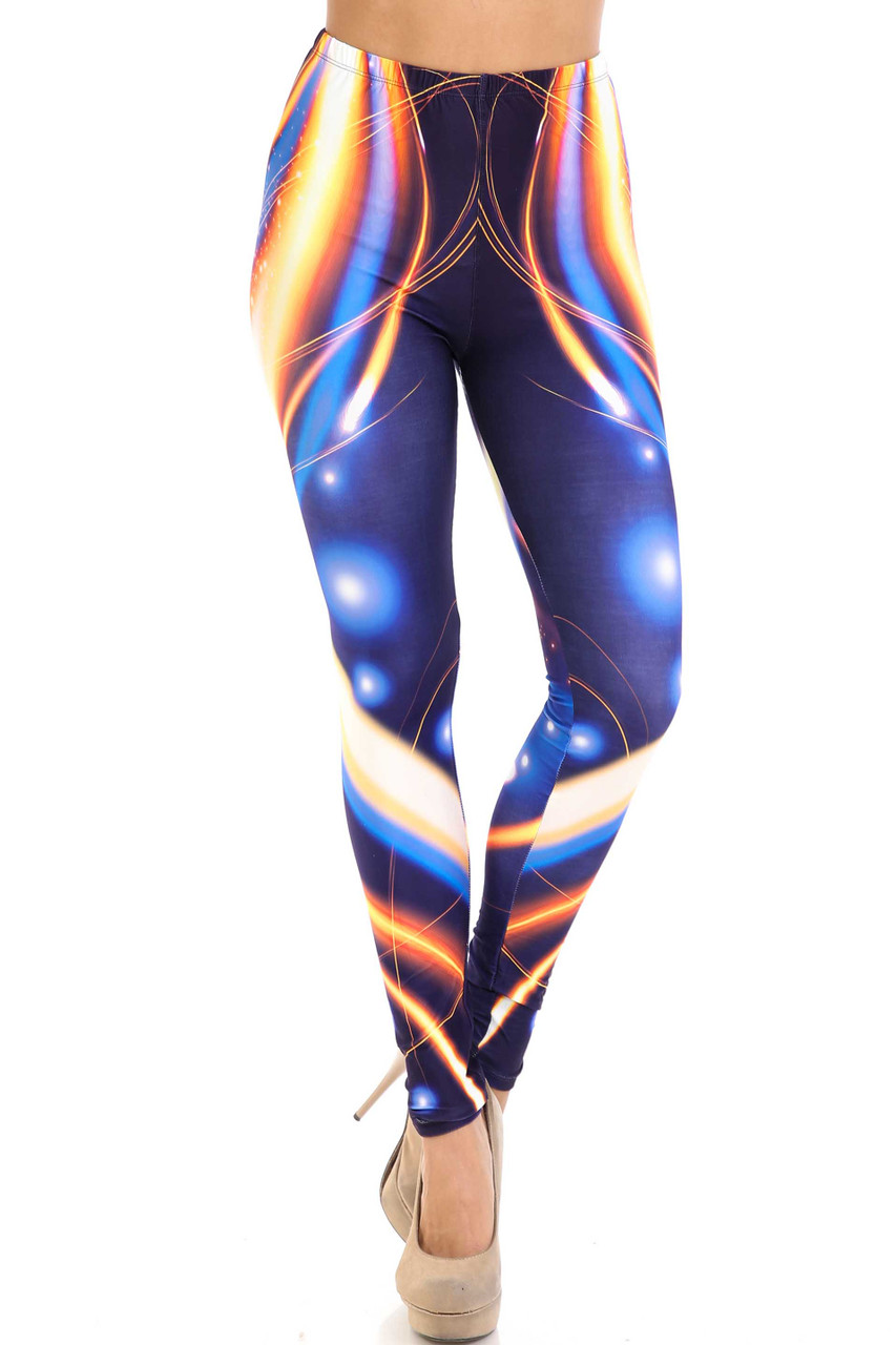 Front view of mid rise Creamy Soft Psychedelic Contour Extra Plus Size Leggings - 3X-5X - By USA Fashion™ with an elastic waistband.