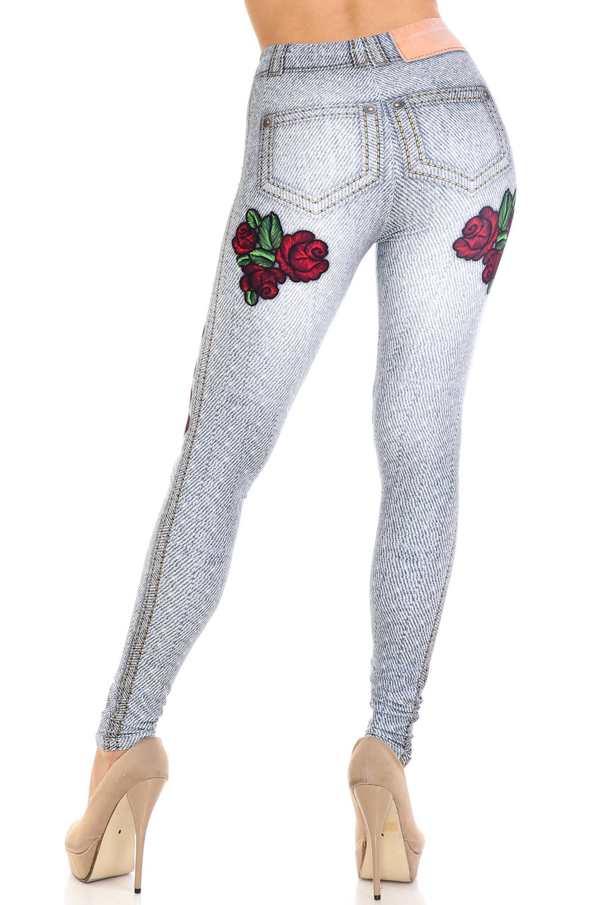 Rear view of Creamy Soft Light Blue Denim Rose Extra Plus Size Leggings - 3X-5X - By USA Fashion™ showing red rose designs under each faux back pocket.