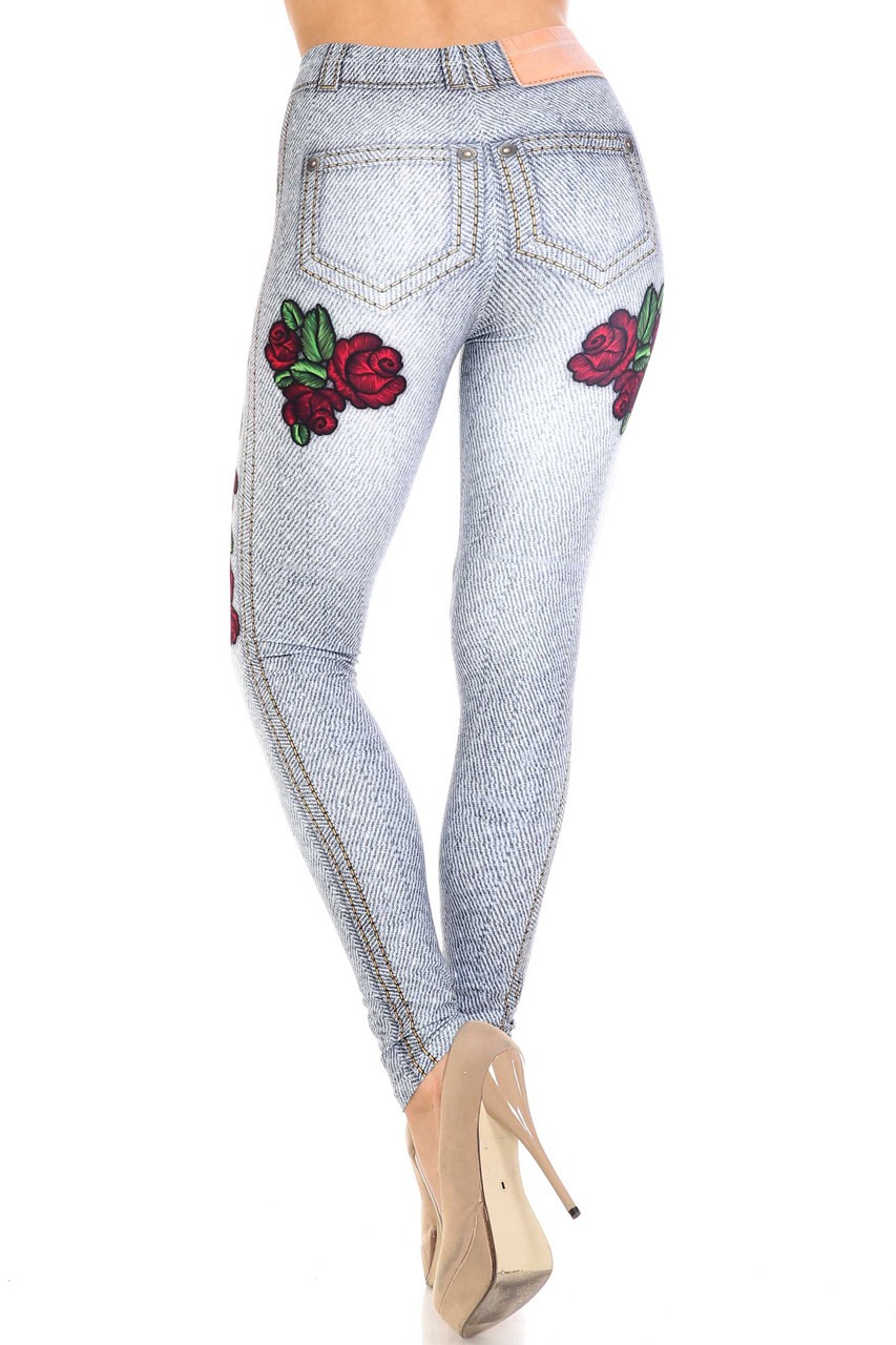 Back view of Creamy Soft Light Blue Denim Rose Extra Plus Size Leggings - 3X-5X - By USA Fashion™ with a body flattering fit.
