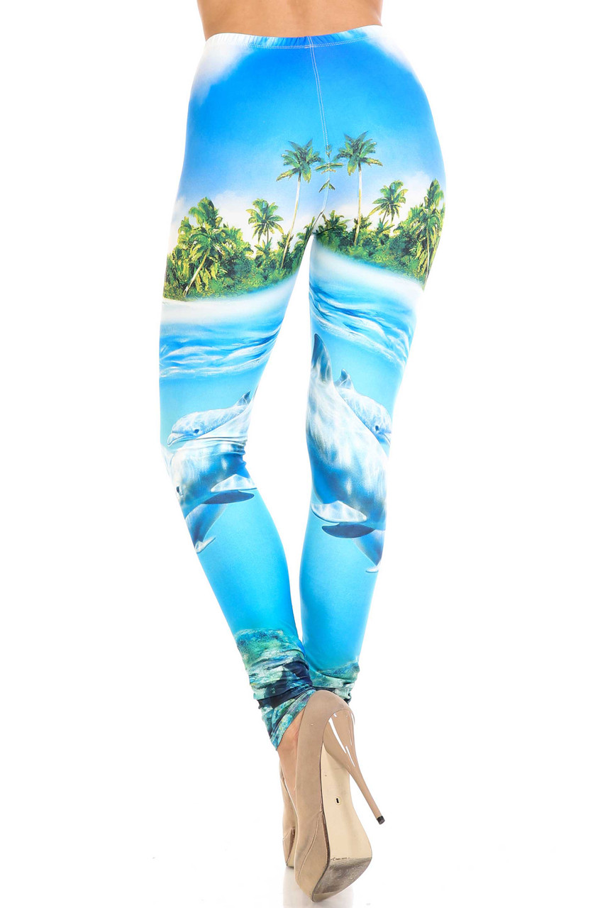 Back view of Creamy Soft Dolphin Paradise Plus Size Leggings  - By USA Fashion™ with a body flattering fit.