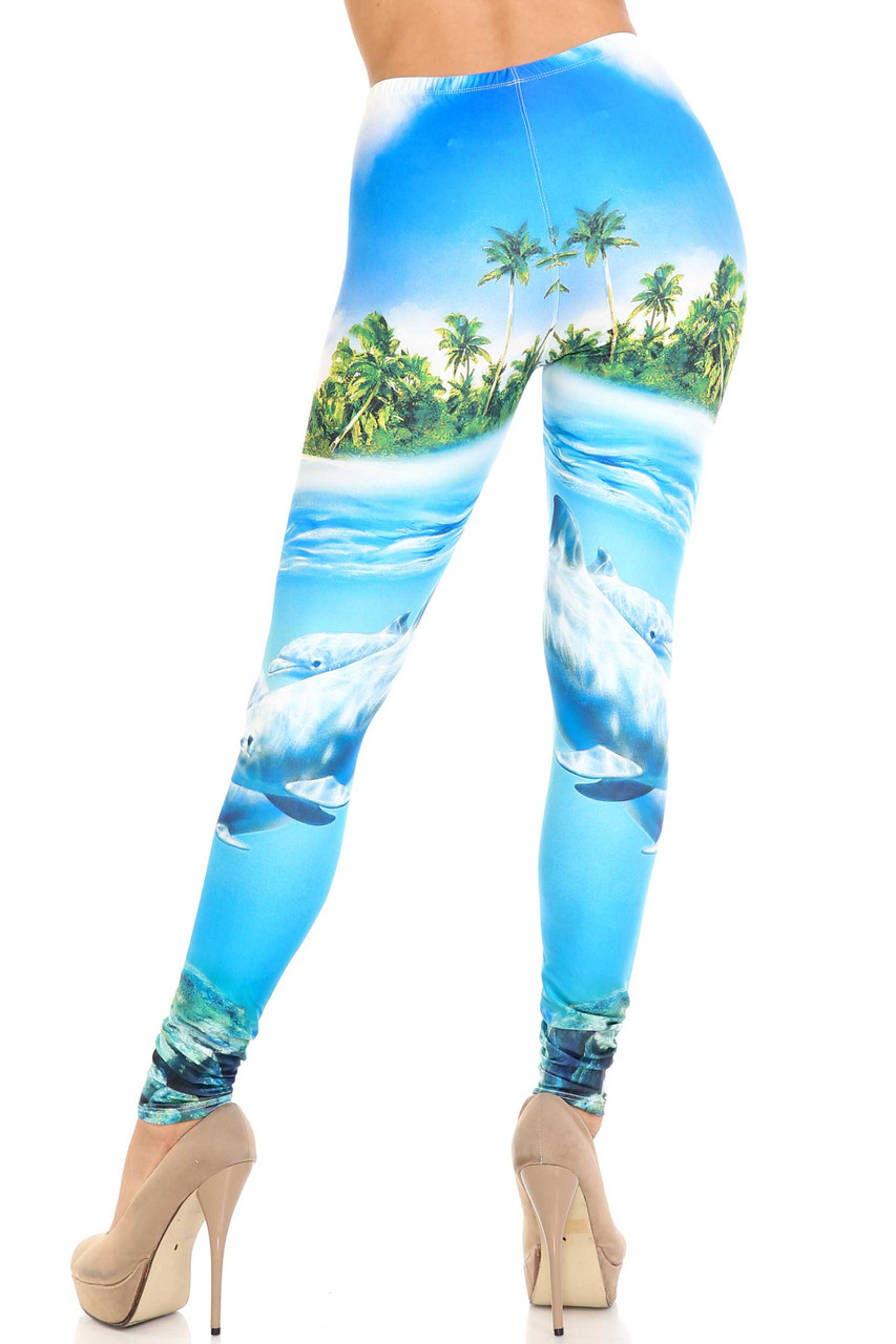 Rear view of Creamy Soft Dolphin Paradise Extra Plus Size Leggings - 3X-5X - By USA Fashion™ showcasing the stunning continued tropical print.