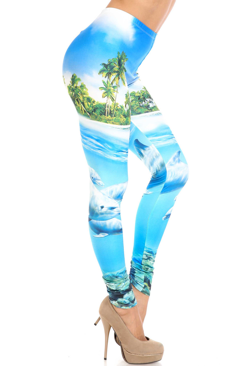Right side view of Creamy Soft Dolphin Paradise Extra Plus Size Leggings - 3X-5X - By USA Fashion™