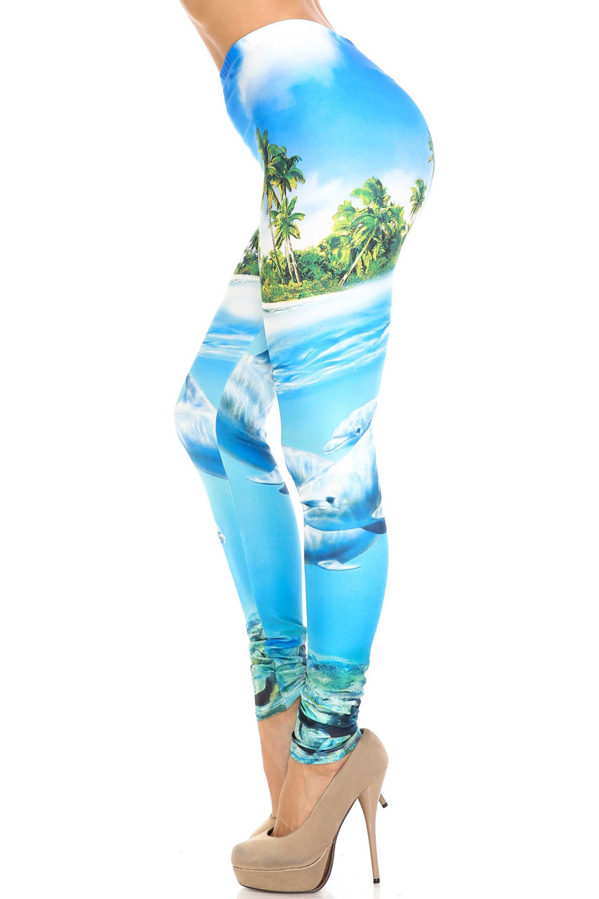 Left side view of Creamy Soft Dolphin Paradise Extra Plus Size Leggings - 3X-5X - By USA Fashion™