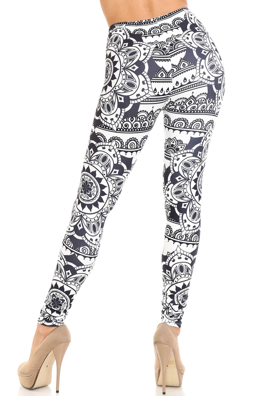Rear view image of Creamy Soft Monochrome Mandala Leggings - By USA Fashion™ with a body flattering fit.