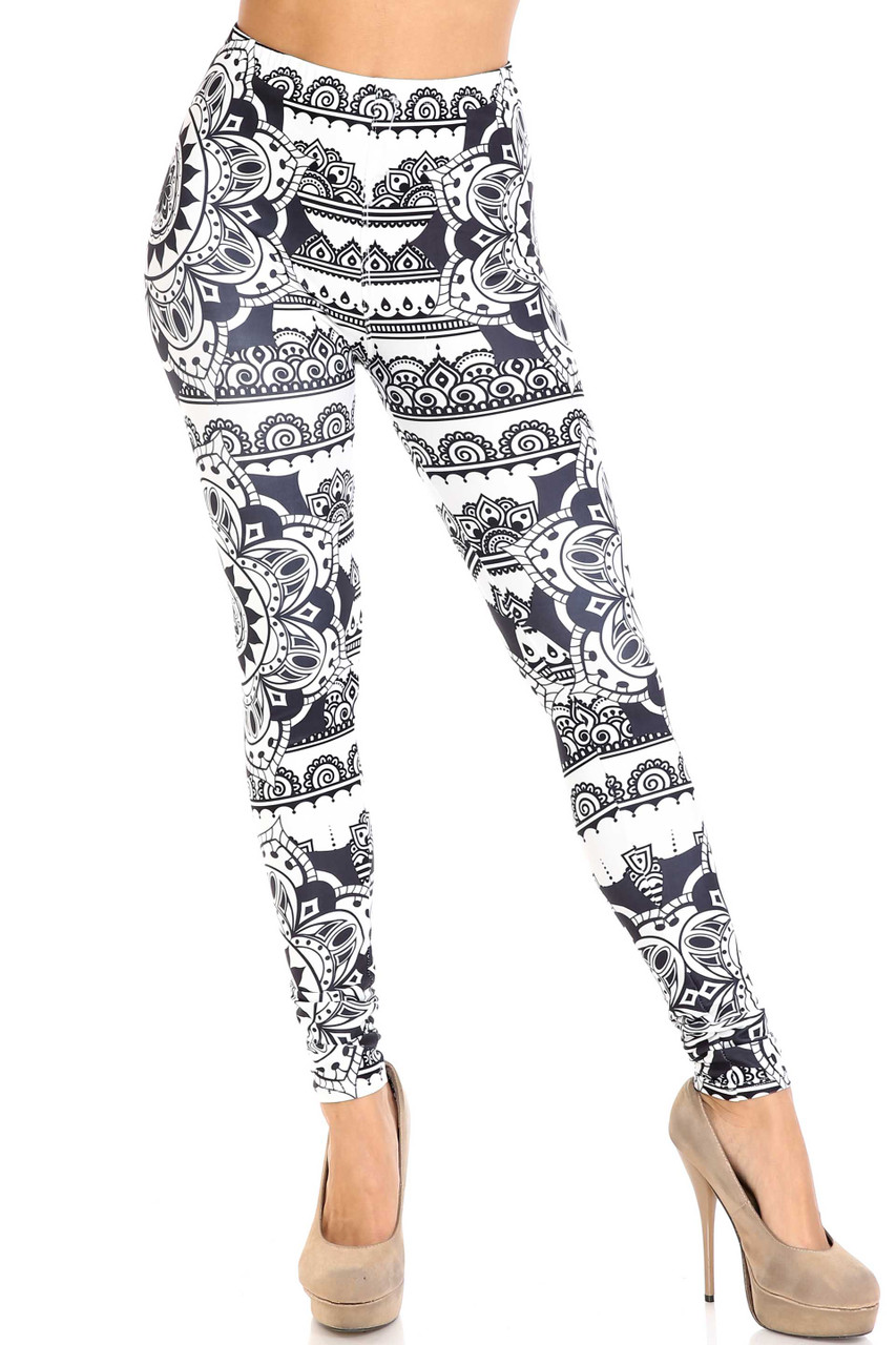 Front view image of Creamy Soft Monochrome Mandala Leggings - By USA Fashion™ with an elasticized waist that comes up to about mid rise.