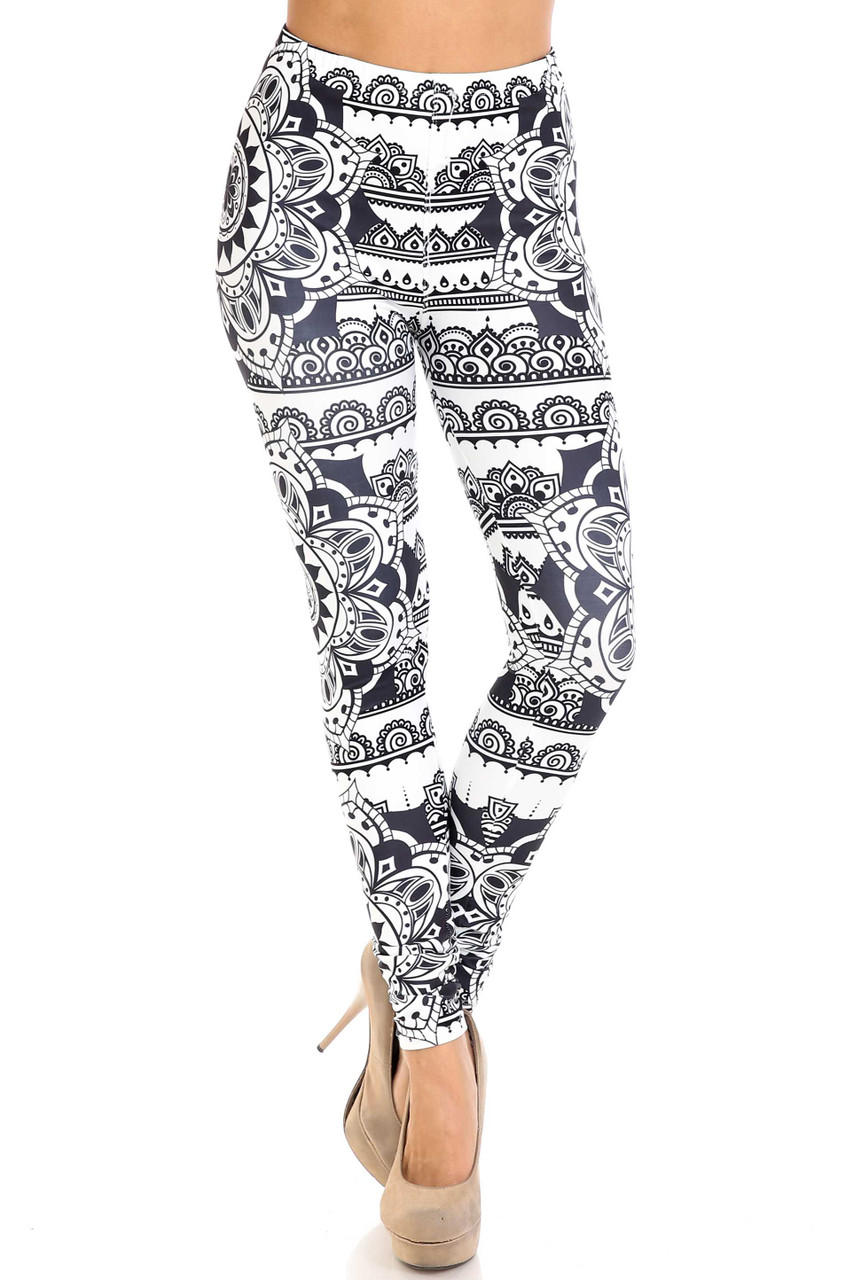 Front view of Creamy Soft Monochrome Mandala Leggings -  By USA Fashion™ with a skinny leg cut.