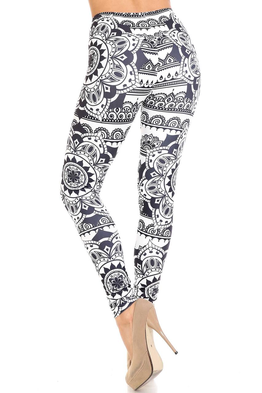 Back view of Creamy Soft Monochrome Mandala Plus Size Leggings  - By USA Fashion™ with a full length hem.
