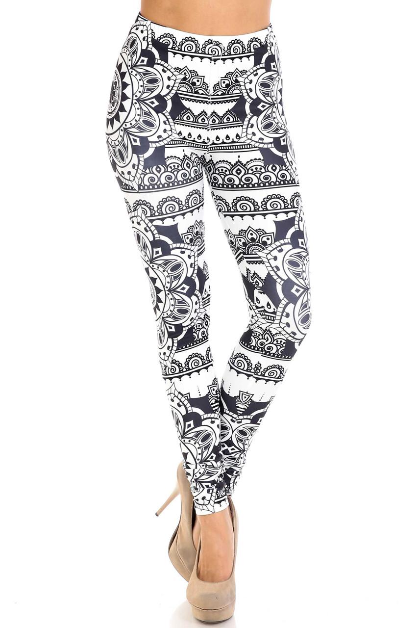 Front view of Creamy Soft Monochrome Mandala Extra Plus Size Leggings - 3X-5X - By USA Fashion™ with a skinny leg cut.