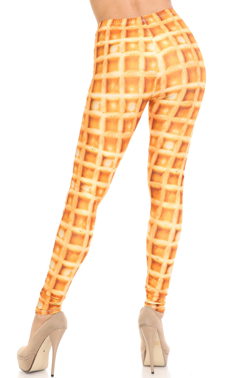 Rear view of Creamy Soft Waffle Extra Plus Size Leggings - 3X-5X - By USA Fashion™ showing the continued 360 degree print.