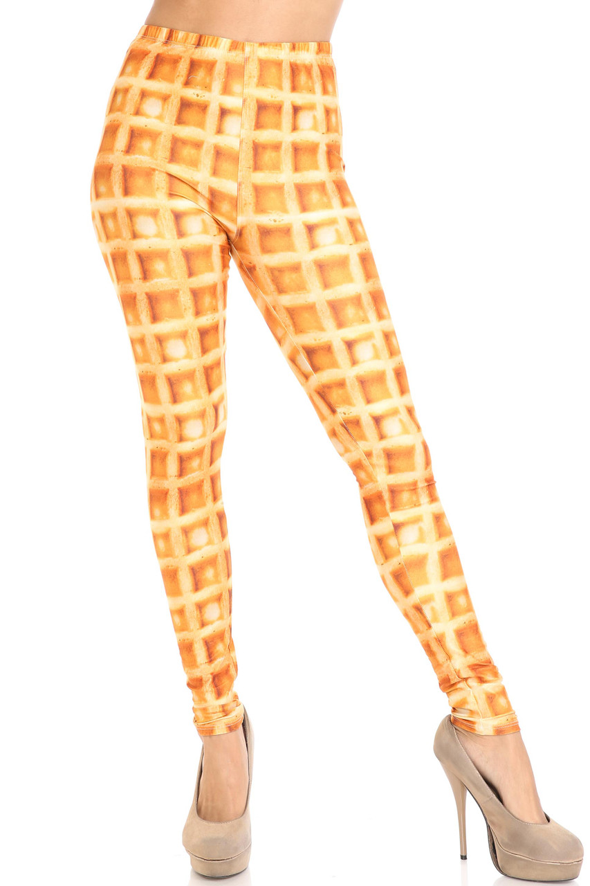 Front view of Creamy Soft Waffle Extra Plus Size Leggings - 3X-5X - By USA Fashion™ with a golden yellow color scheme.