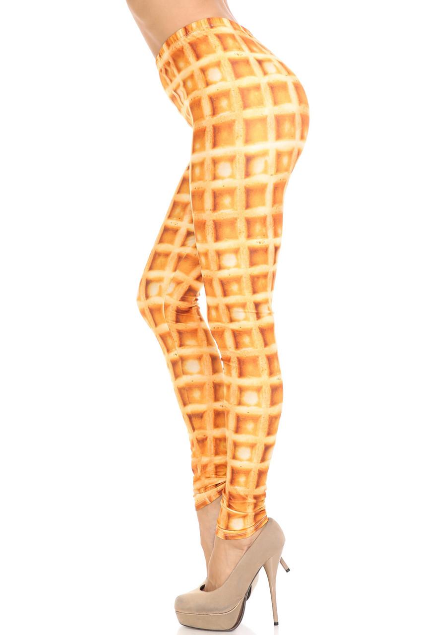 Left side image of Creamy Soft Waffle Extra Plus Size Leggings - 3X-5X - By USA Fashion™