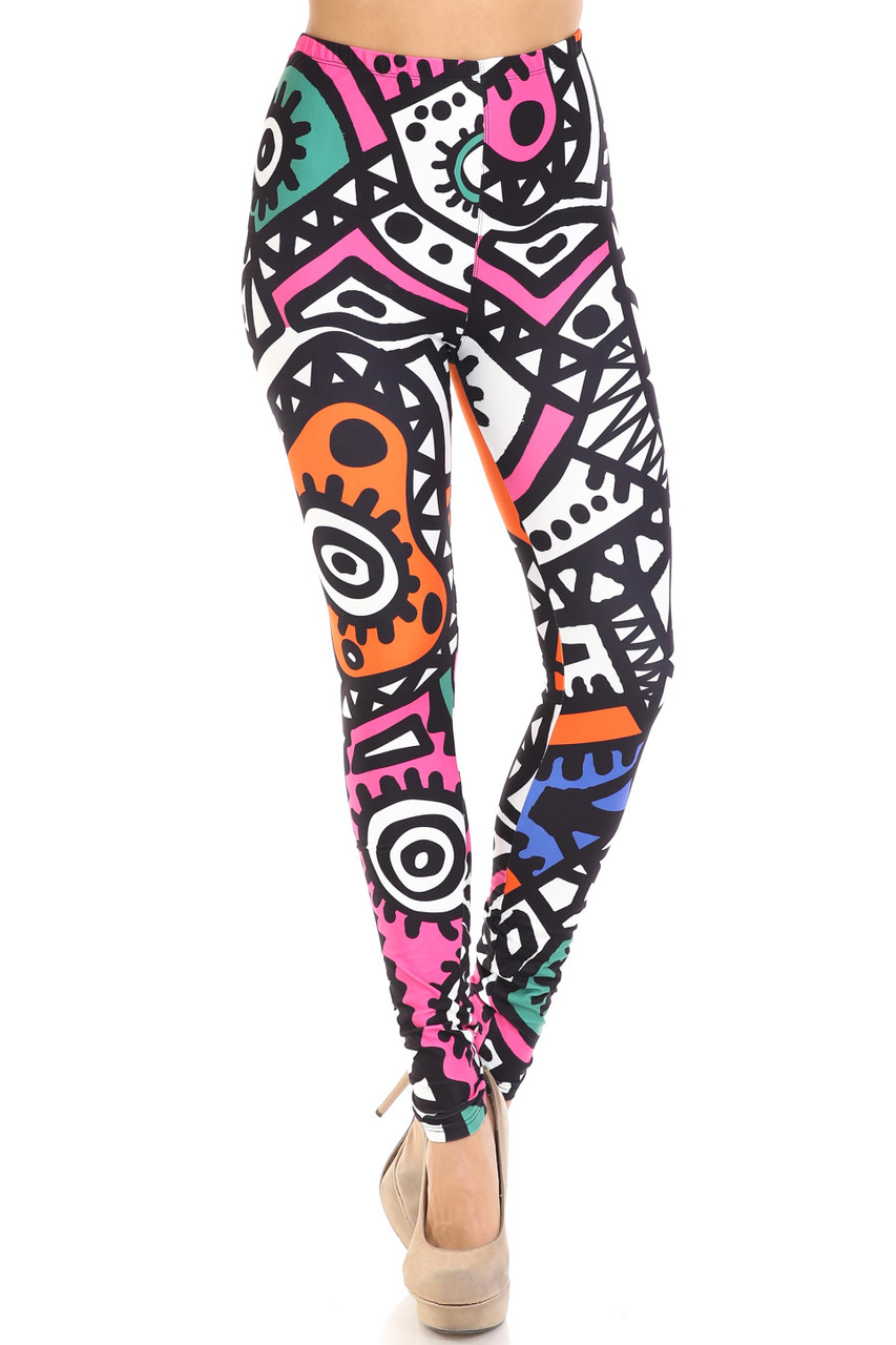 Front view of full length Creamy Soft Color Tribe Plus Size Leggings - By USA Fashion™
