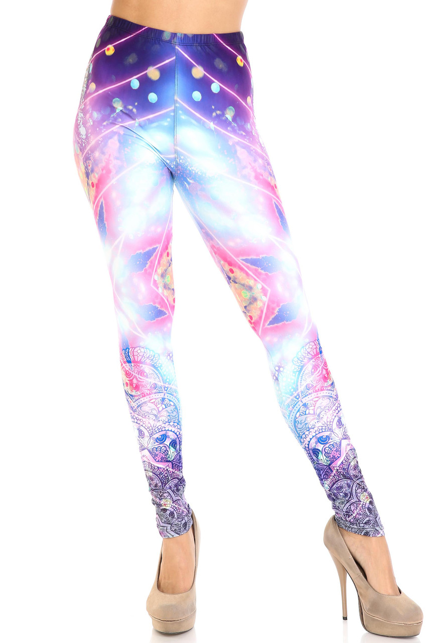 Front view of Creamy Soft Purple Mandala Lights Leggings - By USA Fashion™ with a predominantly blue and pink color scheme.