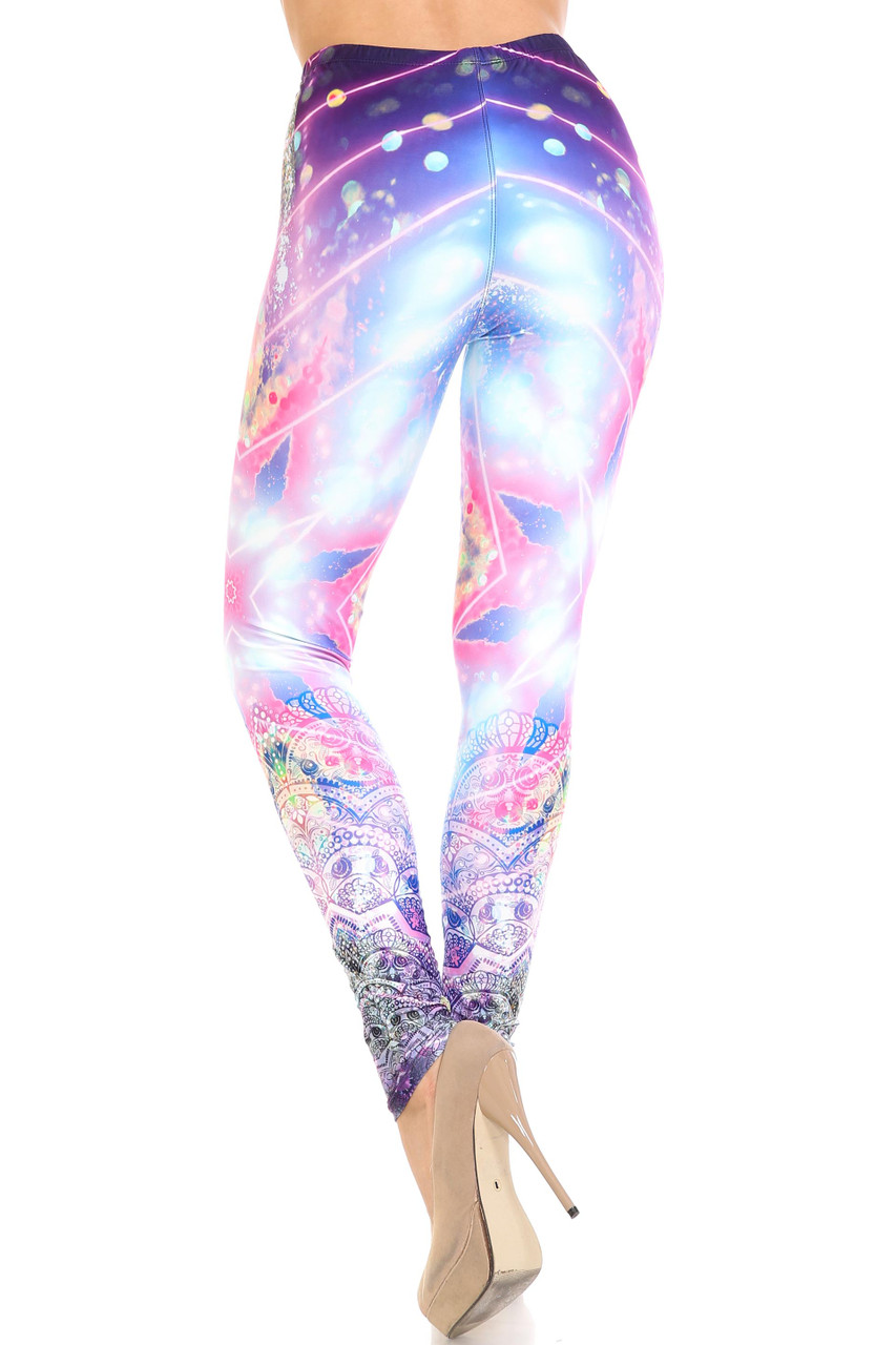 Rear view of Creamy Soft Purple Mandala Lights Leggings  - By USA Fashion™ with a flattering body hugging fit.