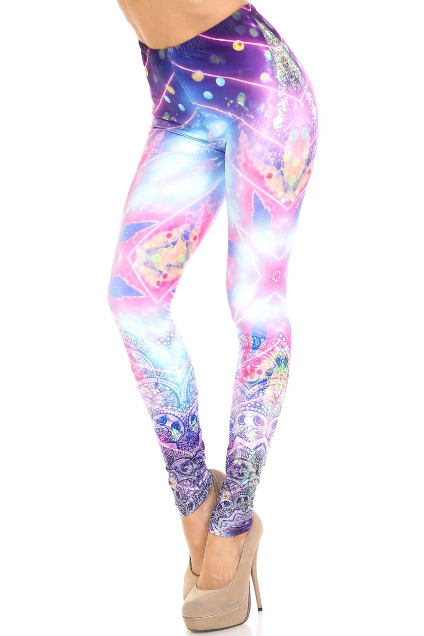 45 degree view of Creamy Soft Purple Mandala Lights Plus Size Leggings - By USA Fashion™ showcasing an energizing and colorful laser light and mandala design.