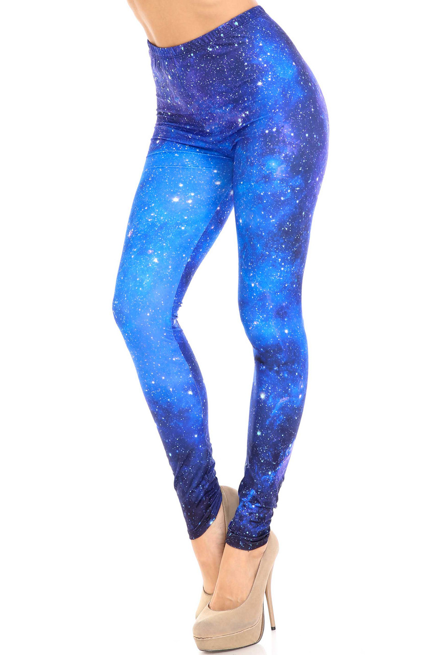 45 degree view of Creamy Soft Deep Blue Galaxy Plus Size Leggings  - USA Fashion™ with a gorgeous blue space design.