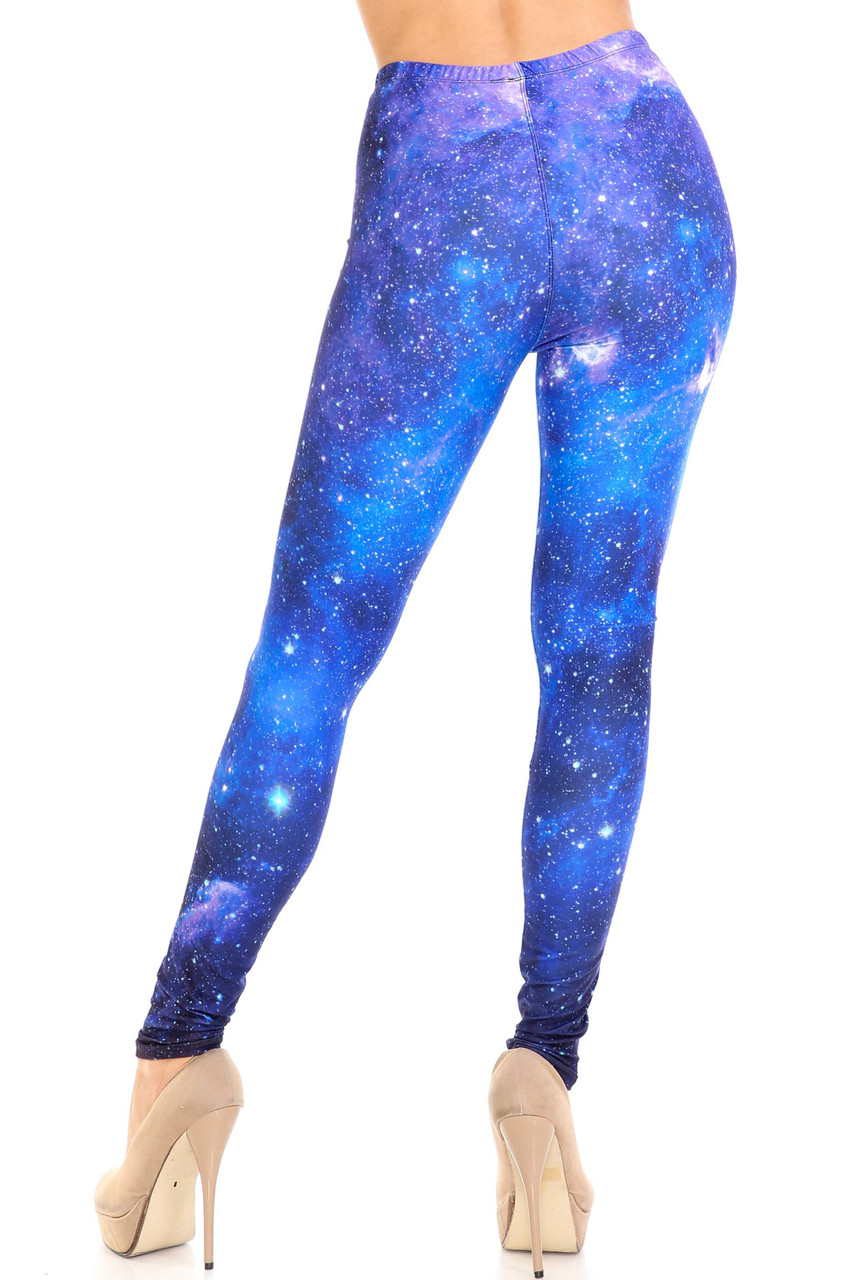 Back view of Creamy Soft Deep Blue Galaxy Plus Size Leggings - USA Fashion™ with a figure flattering fit.