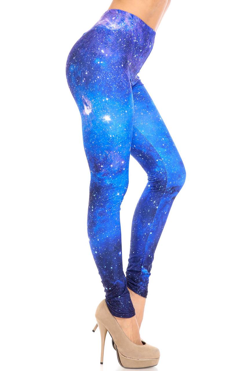 Right side image of Creamy Soft Deep Blue Galaxy Plus Size Leggings - USA Fashion™