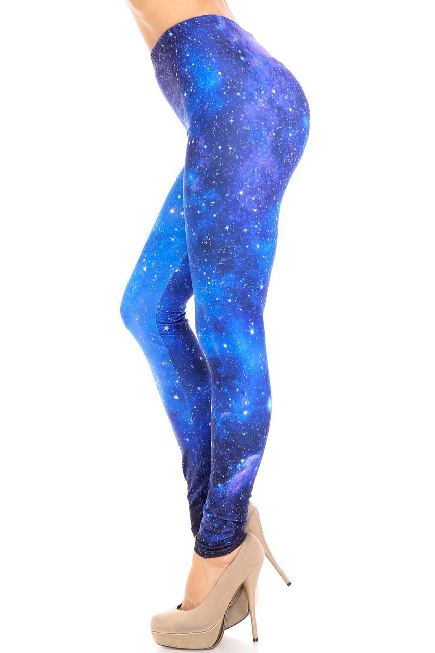 Left side image of Creamy Soft Deep Blue Galaxy Plus Size Leggings - USA Fashion™
