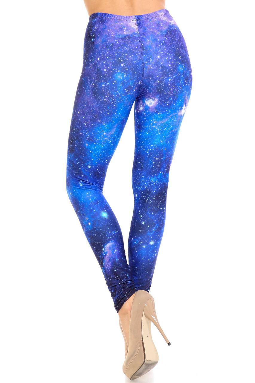 Rear view of Creamy Soft Deep Blue Galaxy Extra Plus Size Leggings - 3X-5X - USA Fashion™ with a full length hem.