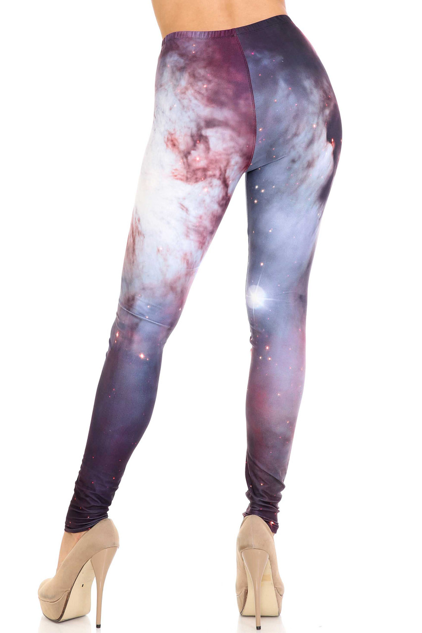 Rear view of Creamy Soft Black Galaxy Extra Plus Size Leggings - 3X-5X - USA Fashion™ showing off the body hugging figure flattering fit.