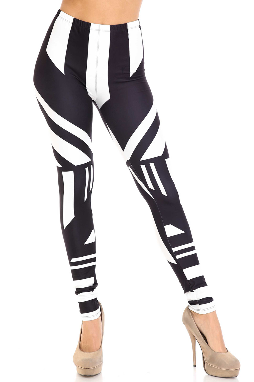 Front view of Creamy Soft Body Flatter Lines Plus Size Leggings - USA Fashion™ with an elastic waist that comes up to about mid rise.