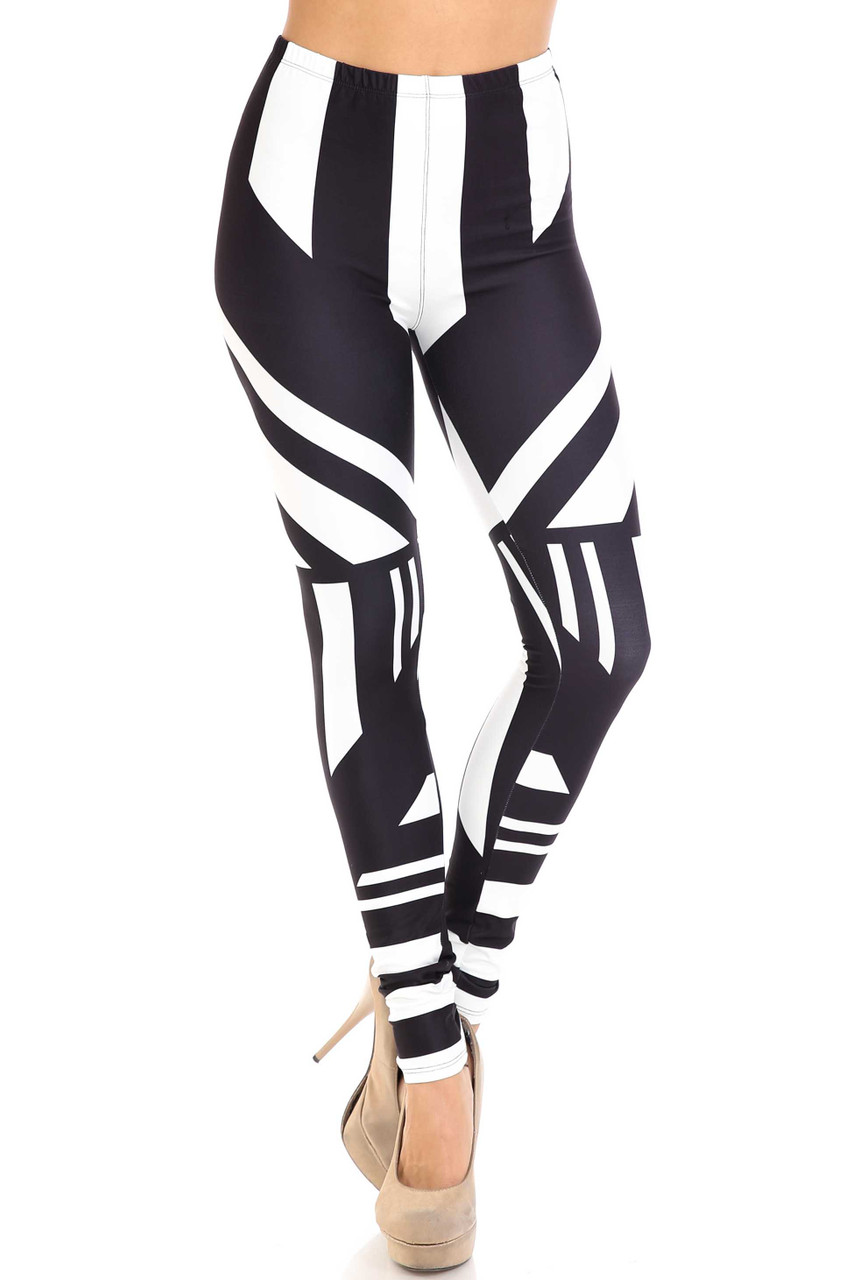 Front view of Creamy Soft Body Flatter Lines Plus Size Leggings - USA Fashion™
