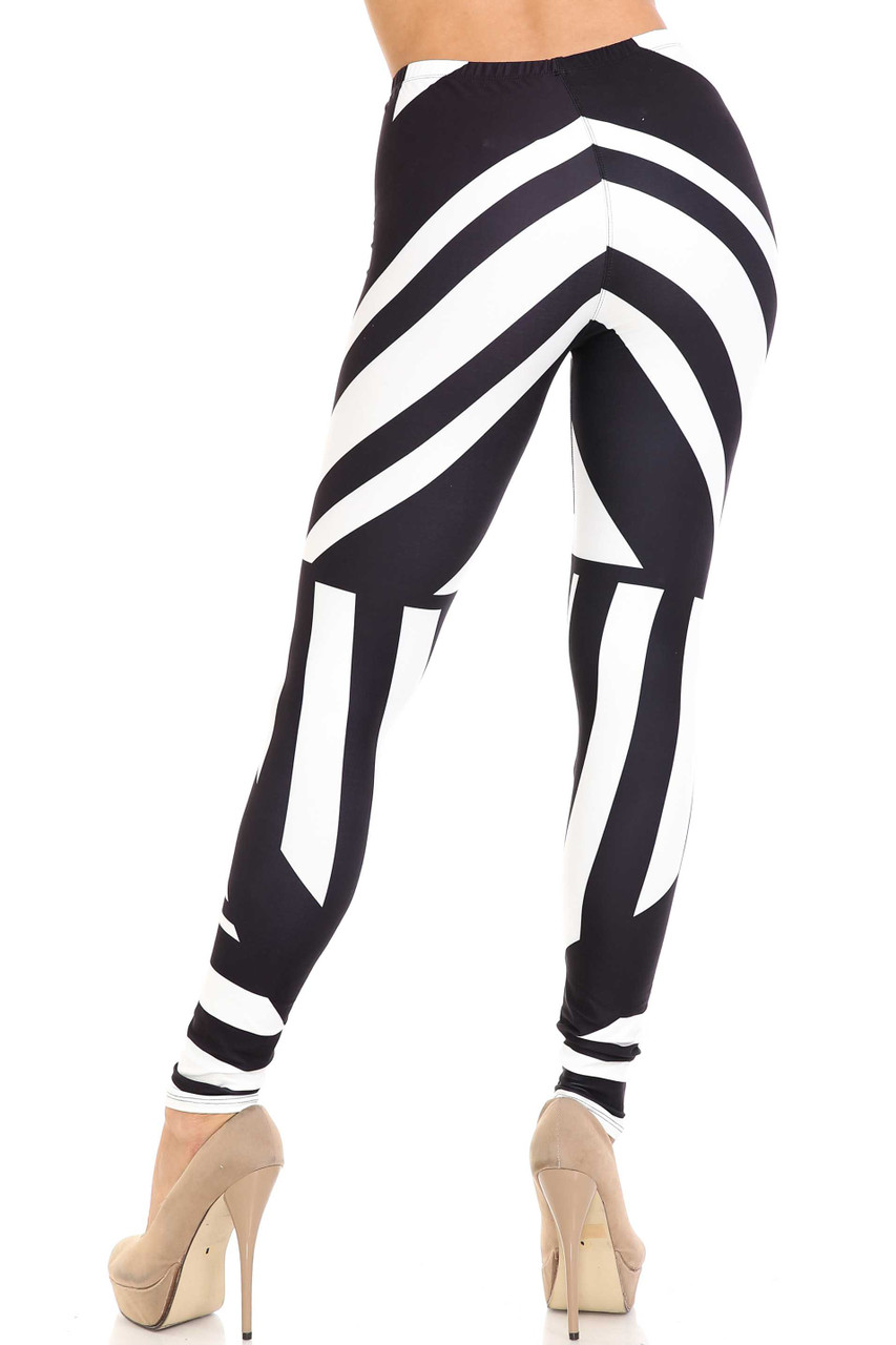 Rear view of Creamy Soft Body Flatter Lines Extra Plus Size Leggings - 3X-5X - USA Fashion™ with a versatile black and white color scheme.
