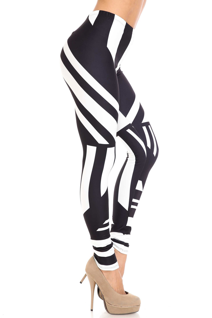 Right side view of Creamy Soft Body Flatter Lines Extra Plus Size Leggings - 3X-5X - USA Fashion™