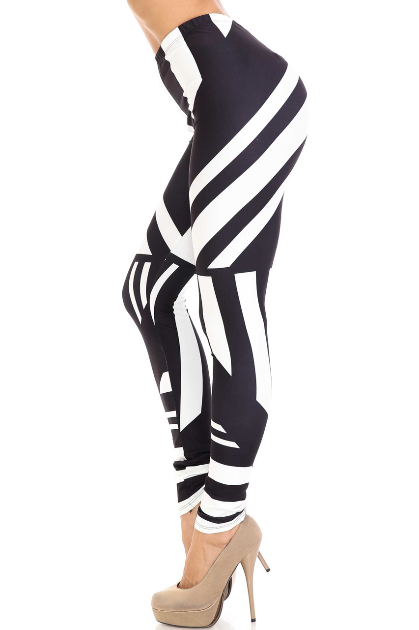 Left side view of Creamy Soft Body Flatter Lines Extra Plus Size Leggings - 3X-5X - USA Fashion™