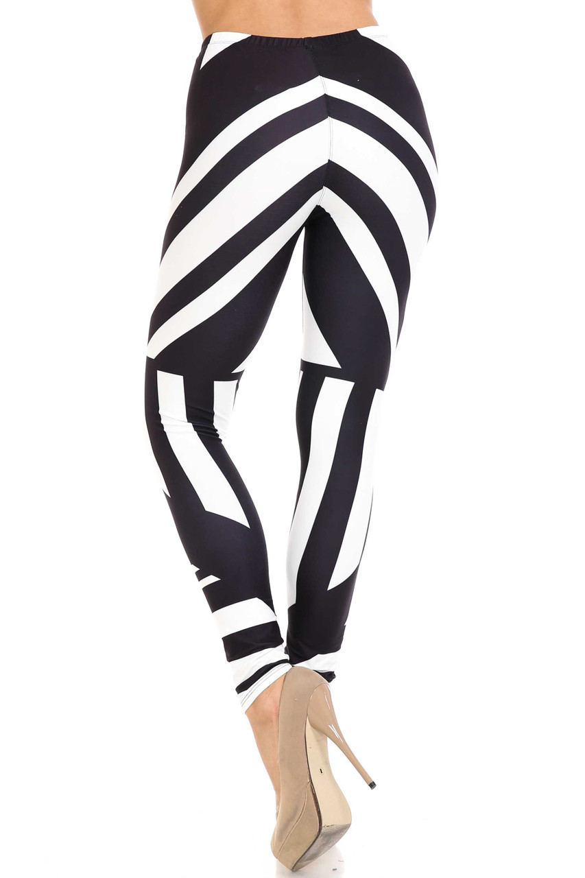 Rear view of Creamy Soft Body Flatter Lines Extra Plus Size Leggings - 3X-5X - USA Fashion™ showing a flattering fit and continued 360 degree design.