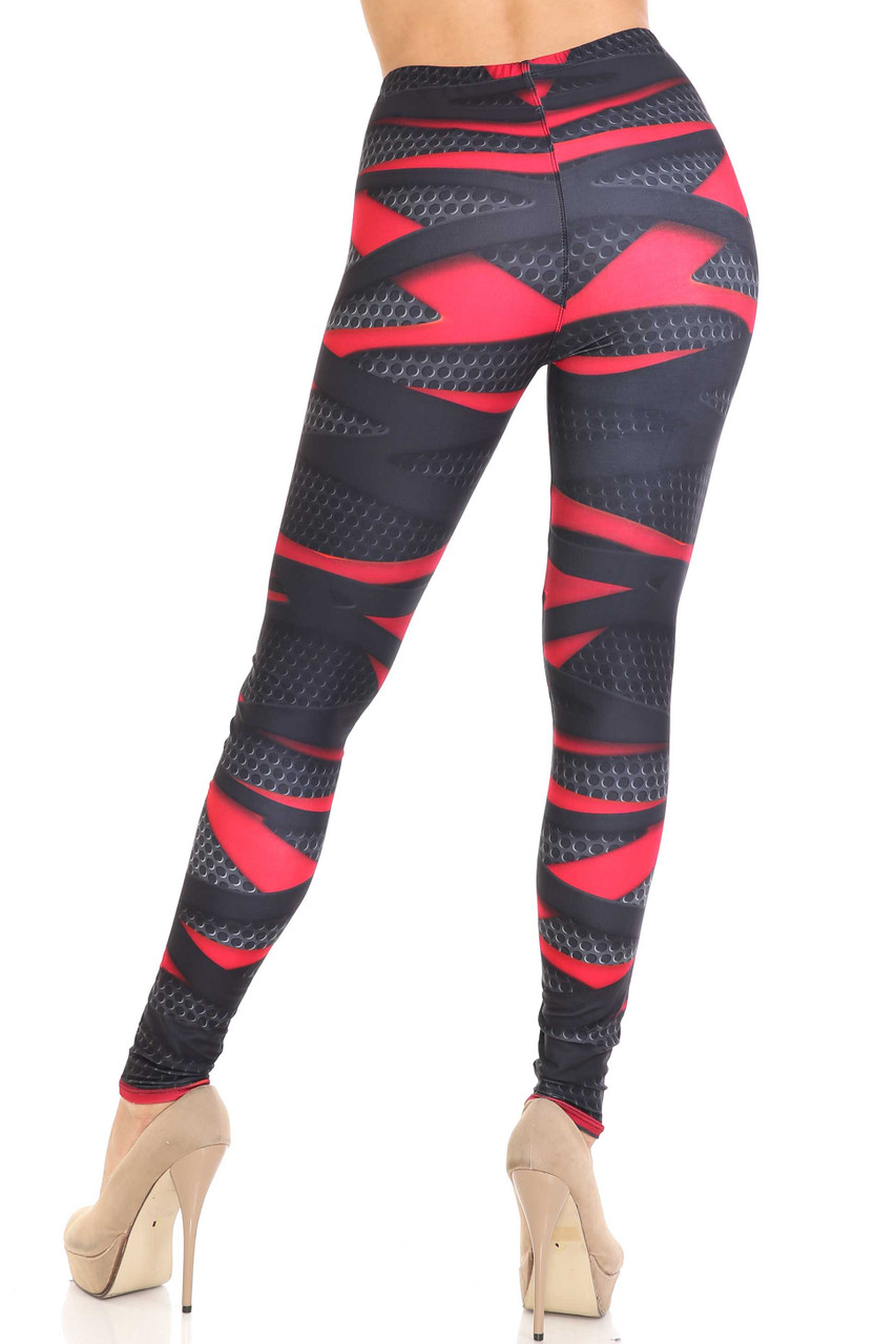 Rear view of Creamy Soft Cascading 3D Sport Wrap Plus Size Leggings - USA Fashion™ featuring a black and red color scheme.