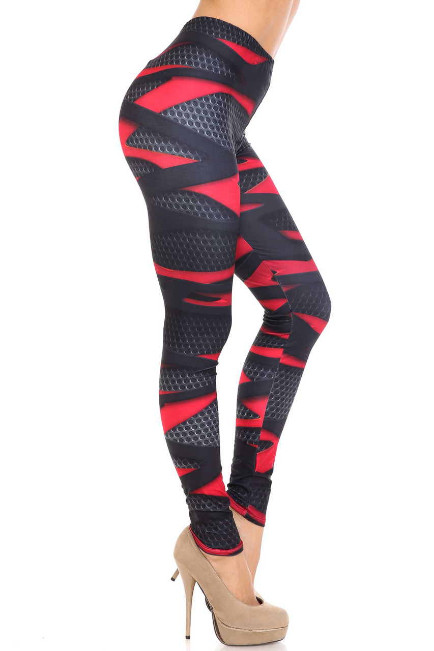 Right side view image of Creamy Soft Cascading 3D Sport Wrap Plus Size Leggings - USA Fashion™