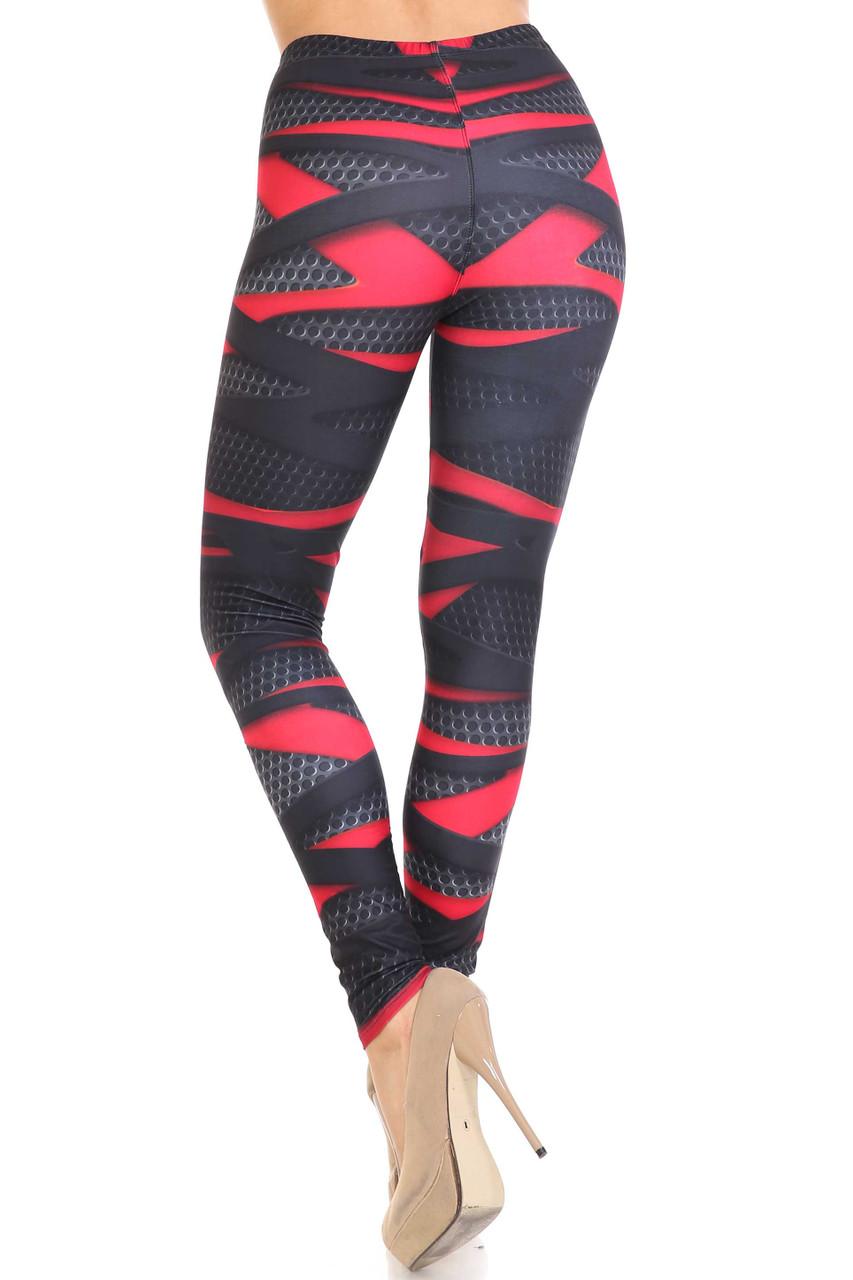 Back view of Creamy Soft Cascading 3D Sport Wrap Plus Size Leggings - USA Fashion™  showcasing a figure flattering fit.