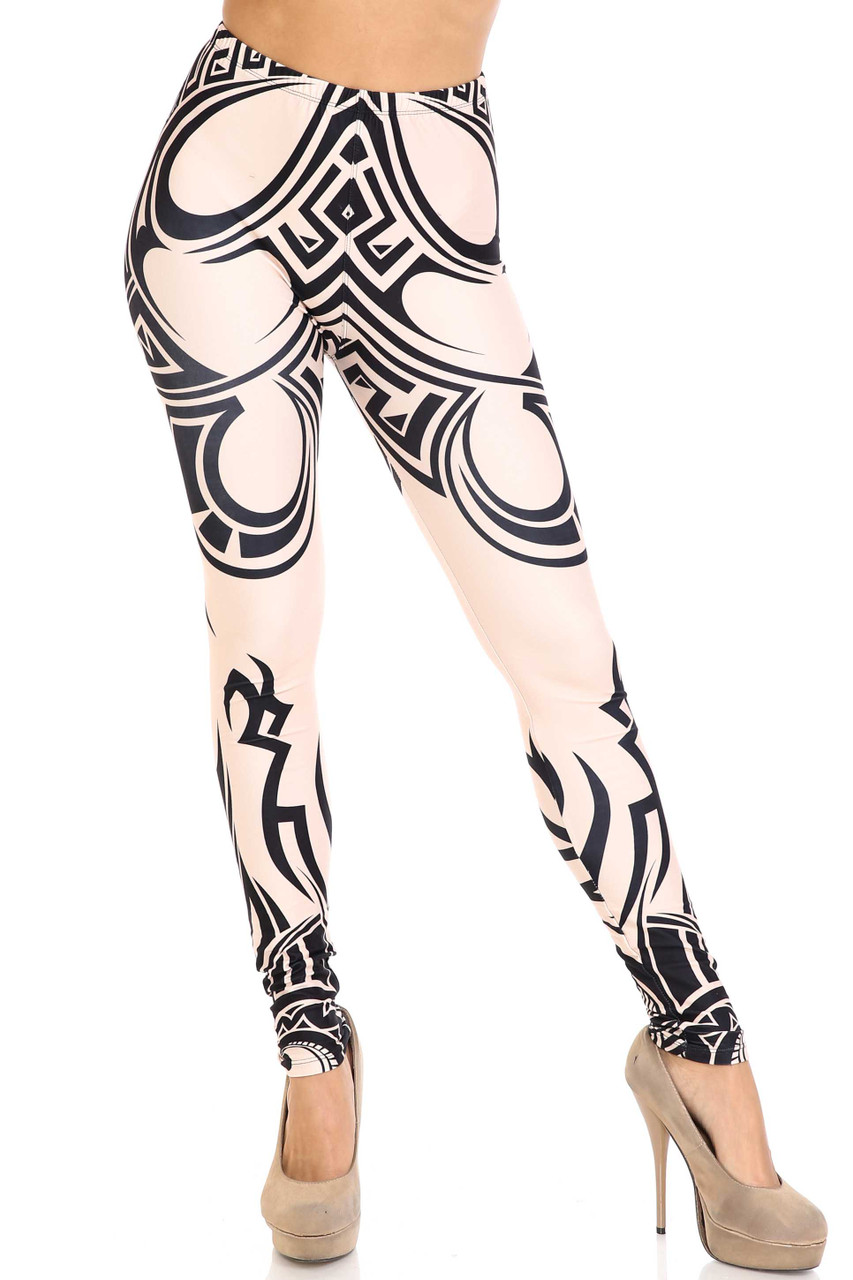 Front side view of Creamy Soft Celestial Tribal Extra Plus Size Leggings - 3X-5X - USA Fashion™ with a full length skinny leg hem.