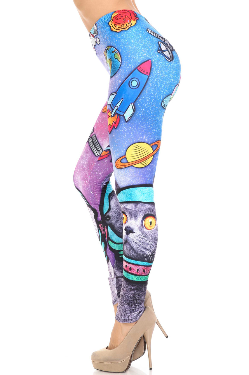 Left side view of Creamy Soft Space Cat Extra Plus Size Leggings - 3X-5X - USA Fashion™