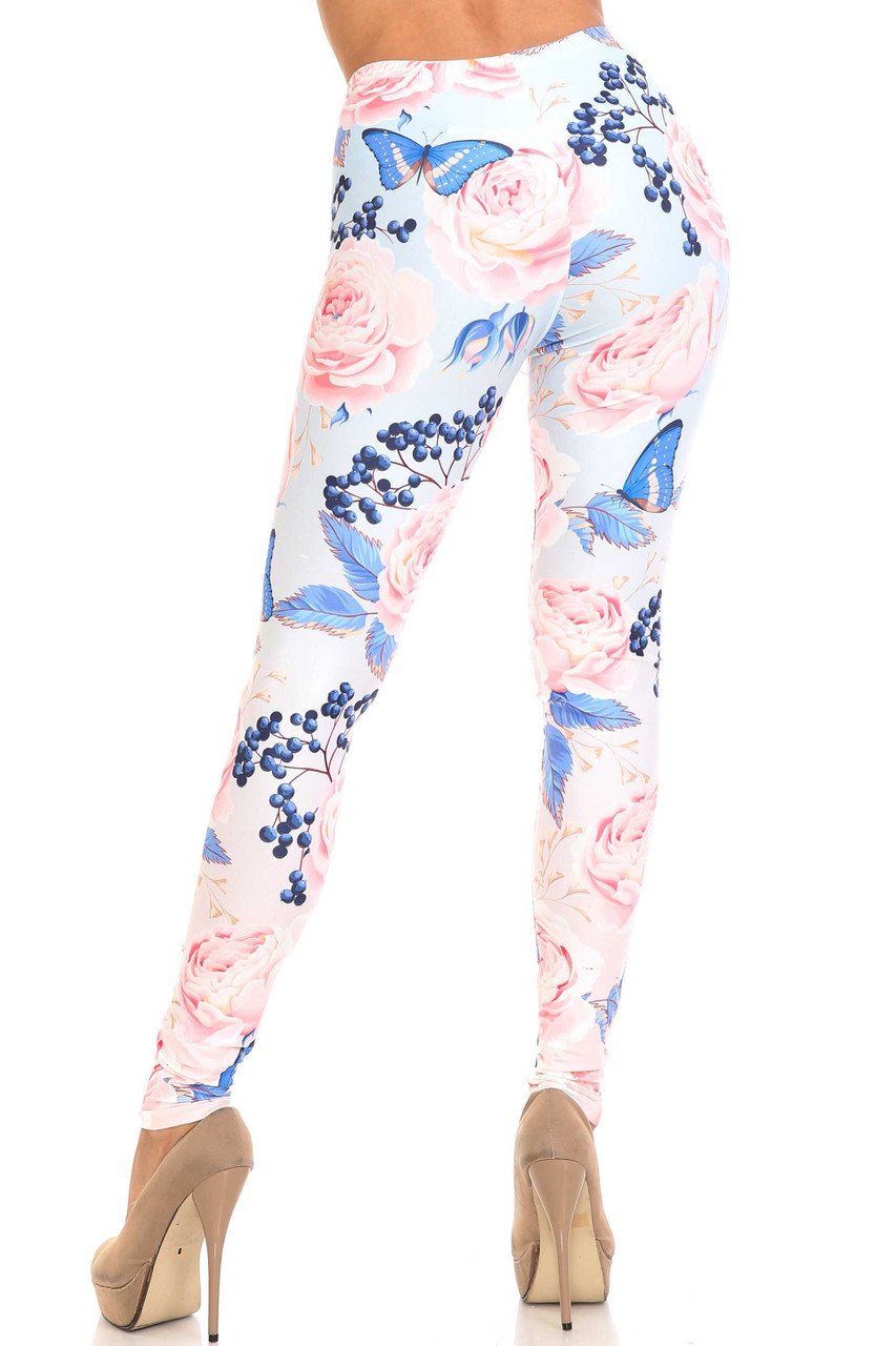 Rear view of Creamy Soft Butterflies and Jumbo Pink Roses Leggings - USA Fashion™ showing off a flattering body hugging fit.