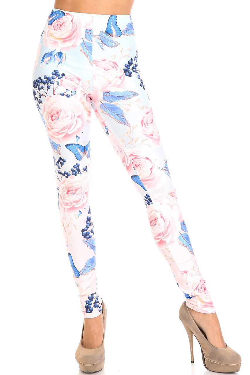 Front view of Creamy Soft Butterflies and Jumbo Pink Roses Leggings - USA Fashion™  showing a full length skinny cut hem.