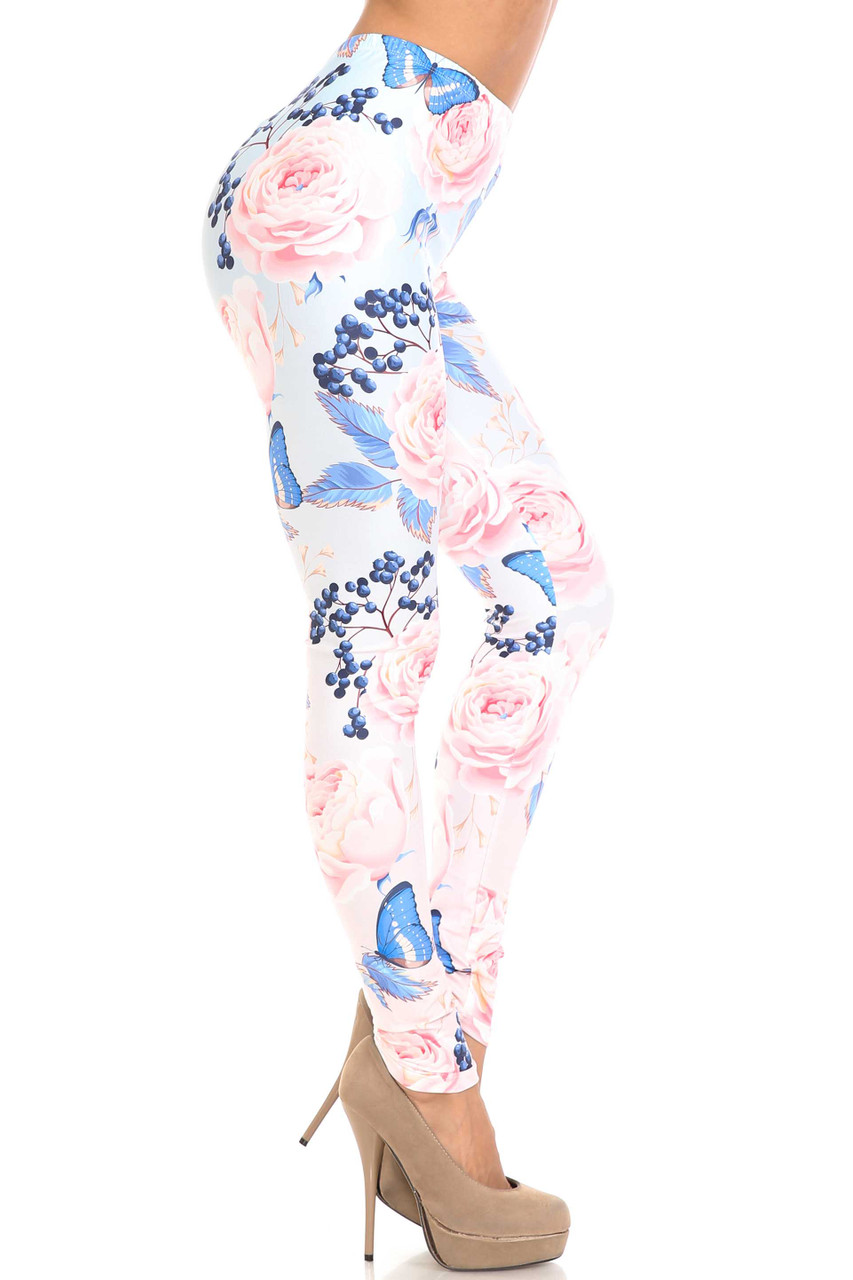Right side image of Creamy Soft Butterflies and Jumbo Pink Roses Leggings - USA Fashion™