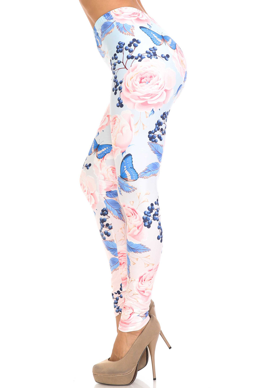 Left side image of Creamy Soft Butterflies and Jumbo Pink Roses Leggings - USA Fashion™