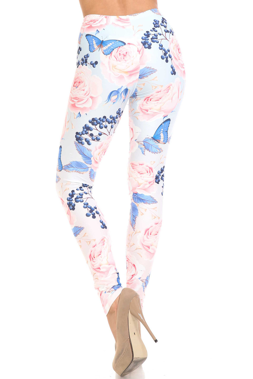 Back view of Creamy Soft Butterflies and Jumbo Pink Roses Leggings - USA Fashion™