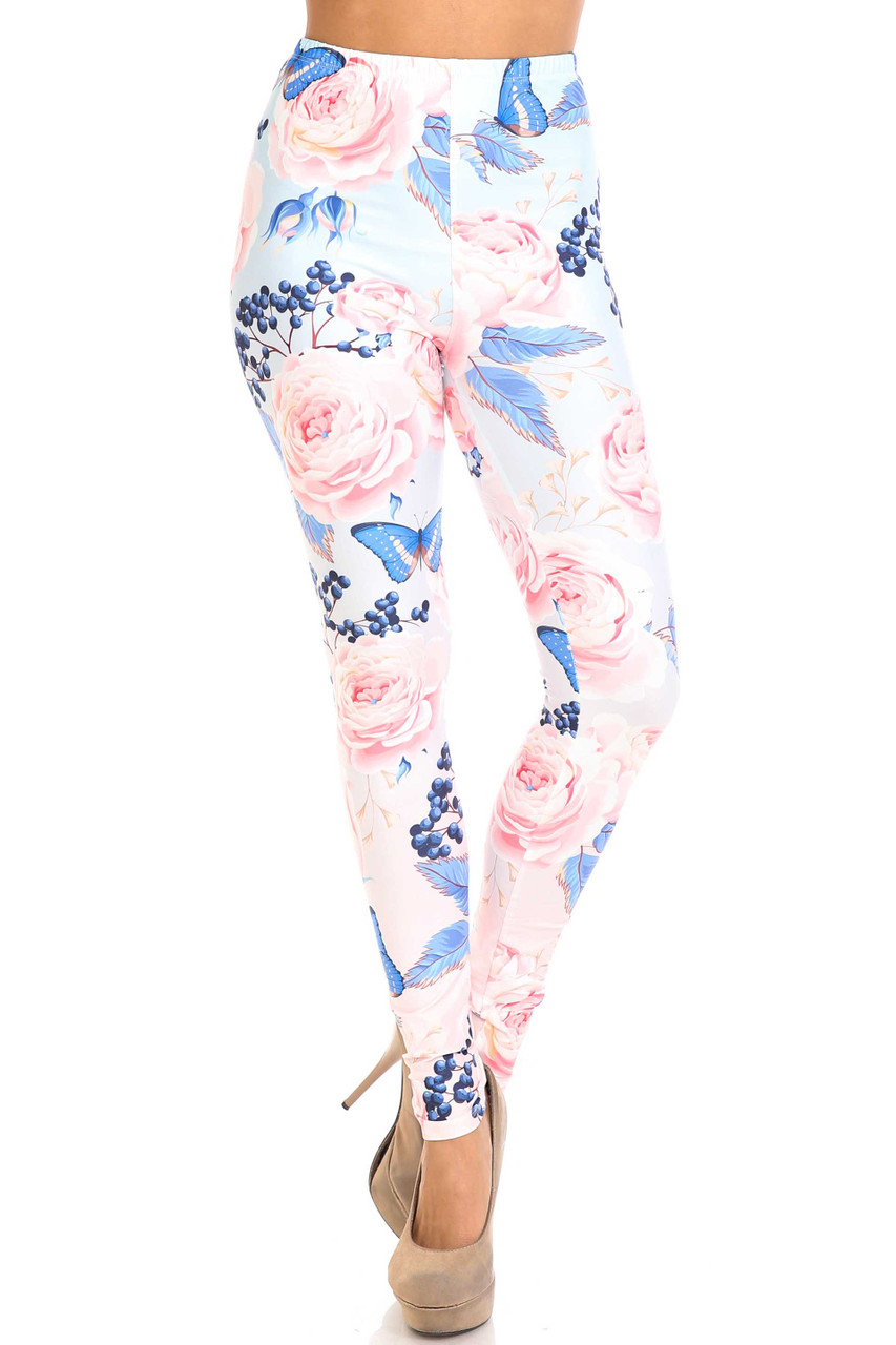 Front view of Creamy Soft Butterflies and Jumbo Pink Roses Leggings - USA Fashion™  pictured styled with nude pumps.
