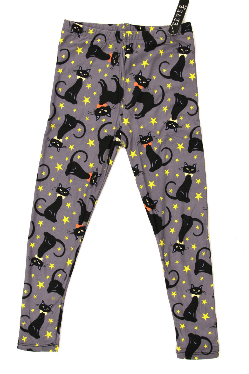 Front stand alone image of Buttery Soft Bow-tie Black Kitty Cats Kids Leggings