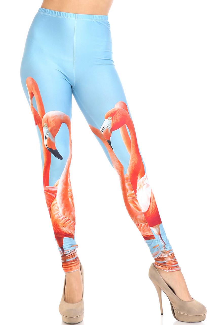 Front of Creamy Soft Flamingo Leggings - USA Fashion™ with an elastic banded mid rise waist.